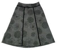 East 5th Womens Size 4 Skirt Gray Black Floral Below Knee Wool Blend Lined