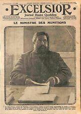 Portrait Albert Thomas Ministre des Munitions Hôtel Claridge Paris WWI 1916