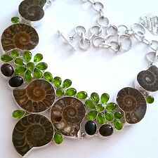 `GORGEOUS 925 SILVER NATURAL FOSSIL/ONYX/PERIDOT/GARNET NECKLACE