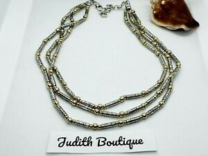 BRIGHTON Triple Strand Beaded Viva Silver Gold Necklace