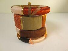 Lee Angel PINK Brown Wrapped Mixed Stackable Bangle Bracelet Set NIP $110