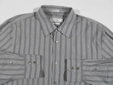 Mens Calvin Klein Button Down Shirt Casual Dress Interview Striped Stretch Metro