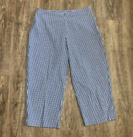 "Kim Rogers Capri Pants ~ Sz 10 ~ Blue & White Plaid ~ High Rise ~ 19"" Inseam"