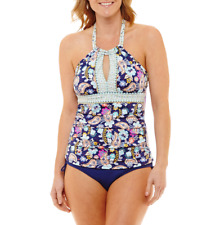 6ef612bbe1776 Liz Claiborne Paisley Tankini Swimsuit Top Size 6, 10, 12, 14 Msrp $49.00