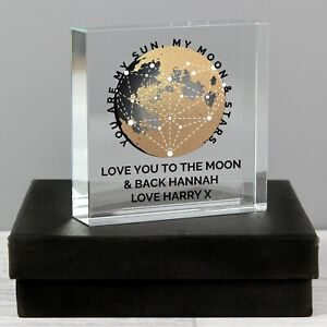 Personalised You Are My Sun My Moon Large Crystal Token or Paperweight