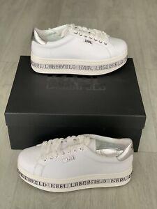 Karl Lagerfeld Womens Kobo Kup Digi Platform Shoes Uk 6 White BRAND NEW WITH BOX