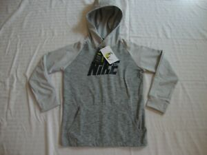 New Boys Nike DRY CV5481-077 Pullover Hoodie Jersey Training Top Size S Grey