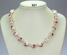 """Pink flower green foliage & white porcelain necklace, crystals, silver chain 19"""""""