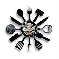 Modern Design Kitchen Utensil Wall Clock Spoon Fork Clock Vinyl
