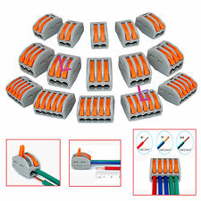 Mixed Reusable Spring Lever Terminal Block Electric Cable Connector Wire - 15Pcs