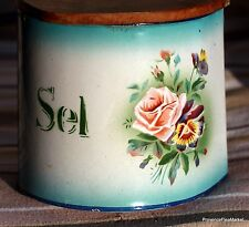 ANTIQUE FRENCH ENAMELWARE SEL/SALT BOX  GRANITEWARE FLORAL