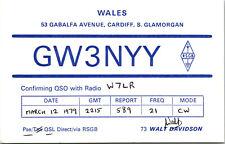 Vtg Ham Radio CB Amateur QSL QSO Card Postcard UK GW3NYY WALES 1979