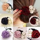 Chic Women Satin Ribbon Rose Flower Pearls Hairband Ponytail Holder Hair Band