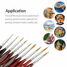 9X Professional Miniature Paint Brush Set Sable Hair Fine Detail Art Nail Model