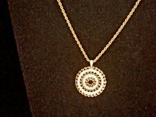 "# 72 -ITALY ROPE GOLD NECKLACE W/925-CZ-1 1/8"" PENDANT   24 "" & 19 G -TESTED"