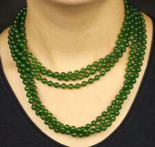 Dark Green Emerald 6mm Gemstone Beads Necklace 60inch JN1001
