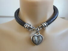 Barry Kieselstein Cord Sterling Silver Heart Black Leather Cord Choker Necklace