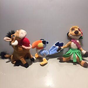 The Lion King ZAZU PUMBA TIMON Meerkat Disney Store Exclusive SMAL PLUSH TOYS