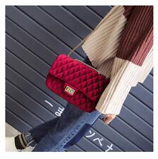Burgundy Velvet Quilt Handbag Satchel Bag Gold CrossBody chain Coco 20 cm 8 inch