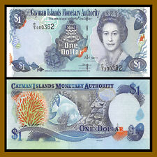 Cayman Islands 1 Dollar, 2006 P-33b (3 Digit Serial # 000382) Qe Ii Unc