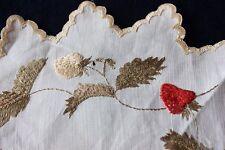 """Antique Society Silk Hand Emb Stumpwork Strawberries On Linen c1880-90~11"""" Round"""