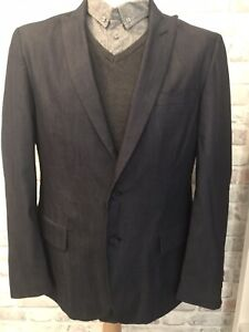 John Varvatos Designer Mens Blue Rayon Suit Jacket Size 42 RRP £250