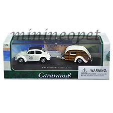 CARARAMA 12817 VW VOLKSWAGEN BEETLE #53 with CARAVAN III TRAILER 1/72 WHITE