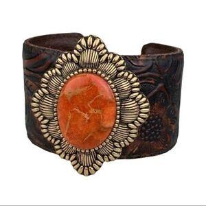 Vintage Barse Orange Sponge Coral & Bronze Flower Tooled Leather Cuff Bracelet