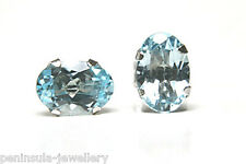 9ct White Gold Blue Topaz Oval Studs earrings Made in UK Gift Boxed