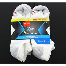 Hanes Men's No-Show Socks X-Temp Comfort Cool, White, 7 Pack, 6-12