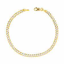 10K Yellow Gold Solid 4mm Pave Diamond Cut Curb Cuban Chain Bracelet Anklet 8.5""