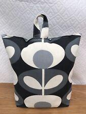 Handmade Butée de porte avec Orla Kiely Cool Gris Fleur Ovale Tissu-rempli-Neuf