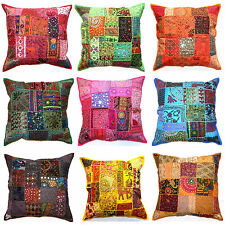 "Decorative Zip Cushion Cover 16x16"" 40cm Patchwork Sequin Indian Boho Moroccan"