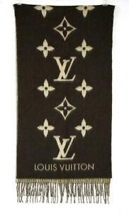 LOUIS VUITTON $995 Brown & Beige Monogram Cashmere REYKJAVIK Scarf
