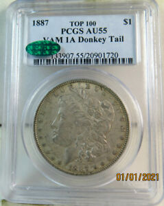 1887 Morgan dollar PCGS/CAC AU55 *VA 1a donkey tail TOP100*
