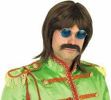 1960 s 60 s Beatles Sergent Pepper John Hippy Pop Star brown wig Fancy Dress New