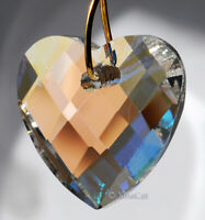 Heart 32mm Crystal Clear AB Matrix Faceted Prism Pendant SunCatcher 1-1/4 inch