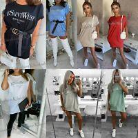 Womens Ladies Tunic Dress Ye Saint West Slogan Baggy Oversized Shirt Dress Top