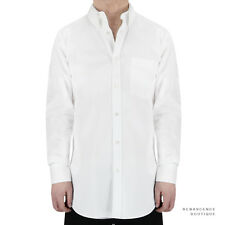 Alexander McQueen White Cotton Button-Down Collar Slim-Fit Shirt IT44 UK34