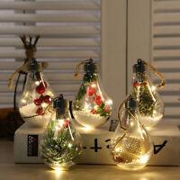 LED Plastic Ball Christmas Tree Ornament Hanging Pendants DIY Xmas Party Decor