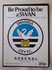 Swansea City v Arsenal League Cup Round Two 1980 - 1981