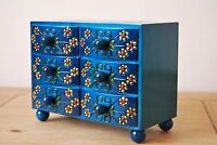 WOODEN JEWELLERY CARVED DRESSING WITH 6 DRAWERS IN BLUE COLOR