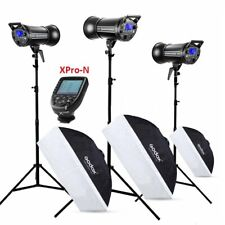 3X Godox QT-600II 2.4G Studio Flash Light + Light Stands Softbox+XPro-N Trigger