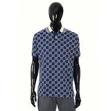 GUCCI 1150$ Polo Shirt With GG Motif In Dark Blue Cotton Piquet XL