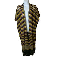 Subtle Luxury Womens Cardigan Duster One Size O/S Striped Brown Tan See Note