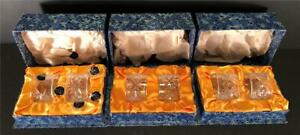 6 CRYSTAL NAPKIN RINGS NEVER USED IN HARROD'S BOXES ENGLAND THOS WEBB