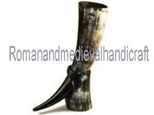Large Polished Viking Usable Drinking Horn & Stand - Reenactment Oxhorn