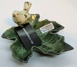 Bird On Leaf Ceramic Trinket Dish Creative Co-op HD5958