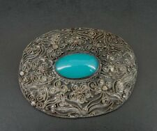 Silver Plate Brooch Pin Vintage Blue Glass Stone Large