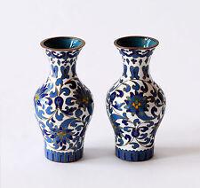 Coppia Vasi Cloisonnè Metallo Cinese Pair Oriental Ancient Antique Vase H.8,5cm